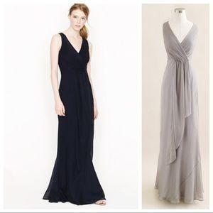 J. Crew Evie Long Dress Black Silk Chiffon 10